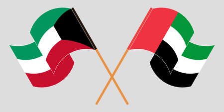 Crossed and waving flags of Kuwait and the United Arab Emirates. Vector illustration