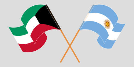 Crossed and waving flags of Kuwait and Argentina. Vector illustration Illustration