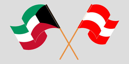 Crossed and waving flags of Kuwait and Austria. Vector illustration