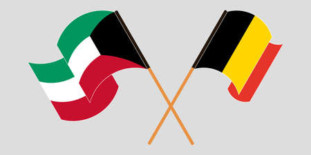 Crossed and waving flags of Kuwait and Belgium. Vector illustration
