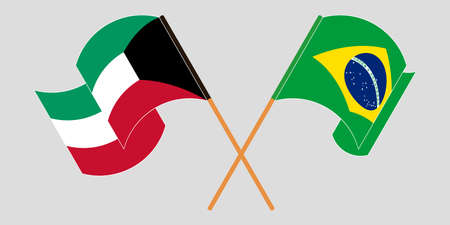 Crossed and waving flags of Kuwait and Brazil. Vector illustration