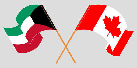 Crossed and waving flags of Kuwait and Canada. Vector illustration Illustration