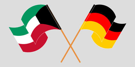 Crossed and waving flags of Kuwait and Germany. Vector illustration Illustration