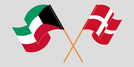 Crossed and waving flags of Kuwait and Denmark. Vector illustration