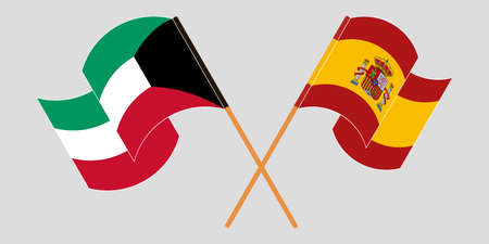 Crossed and waving flags of Kuwait and Spain. Vector illustration