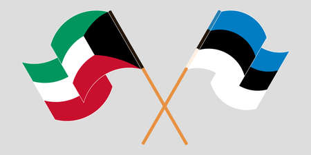 Crossed and waving flags of Kuwait and Estonia. Vector illustration