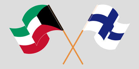 Crossed and waving flags of Kuwait and Finland. Vector illustration Illustration