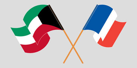 Crossed and waving flags of Kuwait and France. Vector illustration