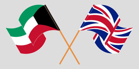 Crossed and waving flags of Kuwait and the UK. Vector illustration