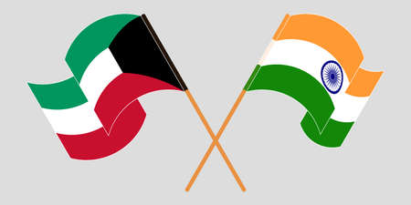 Crossed and waving flags of Kuwait and India. Vector illustration