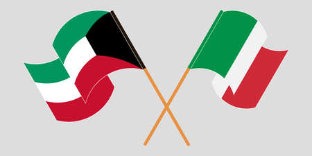 Crossed and waving flags of Kuwait and Italy. Vector illustration