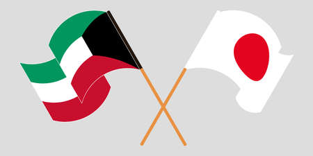 Crossed and waving flags of Kuwait and Japan. Vector illustration Illustration
