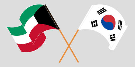 Crossed and waving flags of Kuwait and South Korea. Vector illustration