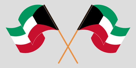 Crossed and waving flags of Kuwait. Vector illustration