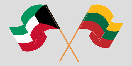 Crossed and waving flags of Kuwait and Lithuania. Vector illustration Illustration