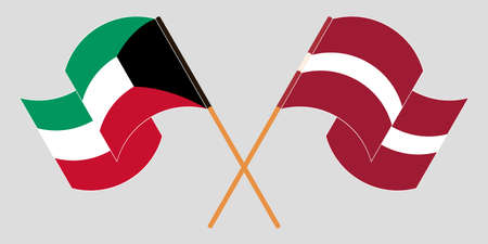 Crossed and waving flags of Kuwait and Latvia. Vector illustration