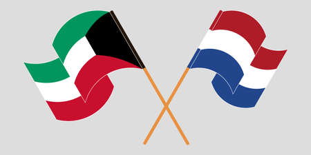 Crossed and waving flags of Kuwait and the Netherlands. Vector illustration
