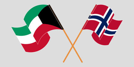 Crossed and waving flags of Kuwait and Norway. Vector illustration
