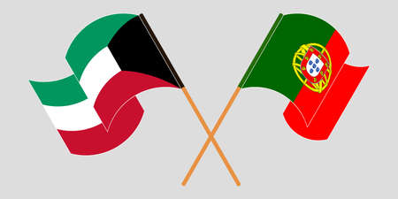 Crossed and waving flags of Kuwait and Portugal. Vector illustration 免版税图像 - 156981569