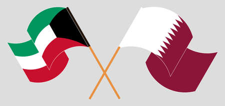 Crossed and waving flags of Kuwait and Qatar. Vector illustration
