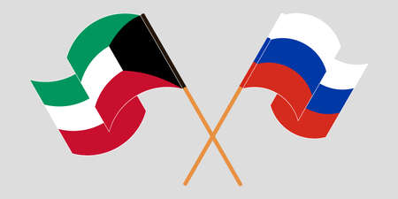 Crossed and waving flags of Kuwait and Russia. Vector illustration Illustration