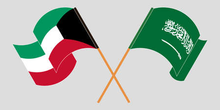 Crossed and waving flags of Kuwait and the Kingdom of Saudi Arabia. Vector illustration