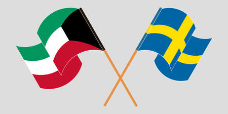 Crossed and waving flags of Kuwait and Sweden. Vector illustration