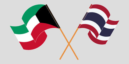 Crossed and waving flags of Kuwait and Thailand. Vector illustration Illustration