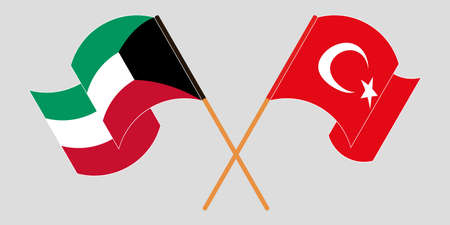 Crossed and waving flags of Kuwait and Turkey. Vector illustration