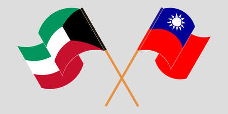 Crossed and waving flags of Kuwait and Taiwan. Vector illustration
