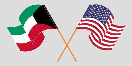 Crossed and waving flags of Kuwait and the USA. Vector illustration