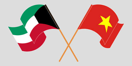 Crossed and waving flags of Kuwait and Vietnam. Vector illustration  イラスト・ベクター素材