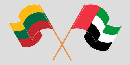 Crossed flags of Lithuania and United Arab Emirates. Official colors. Correct proportion. Vector illustration