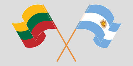 Crossed flags of Lithuania and Argentina. Official colors. Correct proportion. Vector illustration