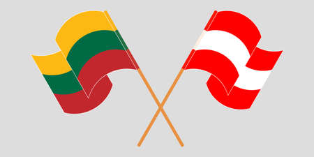 Crossed flags of Lithuania and Austria. Official colors. Correct proportion. Vector illustration