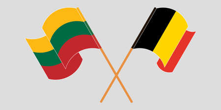 Crossed and waving flags of Lithuania and Belgium. Vector illustration