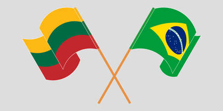 Crossed flags of Lithuania and Brazil. Official colors. Correct proportion. Vector illustration