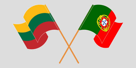 Crossed flags of Lithuania and Portugal. Official colors. Correct proportion. Vector illustration