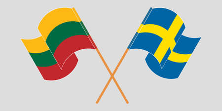 Crossed and waving flags of Lithuania and Sweden. Vector illustration