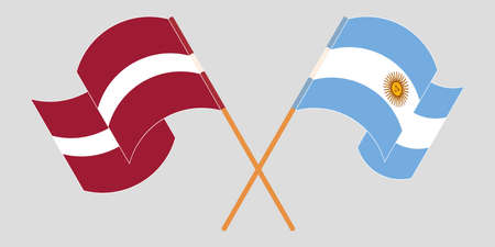 Crossed and waving flags of Latvia and Argentina. Vector illustration Vettoriali