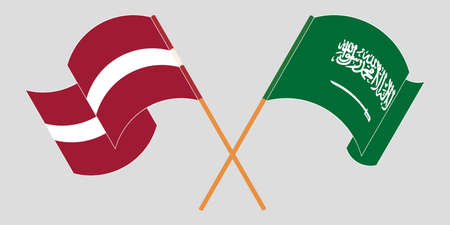 Crossed and waving flags of Latvia and the Kingdom of Saudi Arabia. Vector illustration