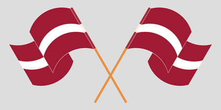 Crossed and waving flags of Latvia. Vector illustration Vektoros illusztráció