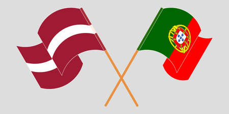 Crossed and waving flags of Latvia and Portugal. Vector illustration