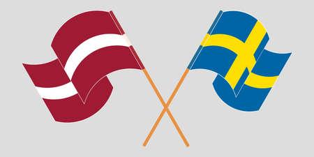 Crossed and waving flags of Latvia and Sweden. Vector illustration Vektoros illusztráció