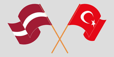Crossed and waving flags of Latvia and Turkey. Vector illustration