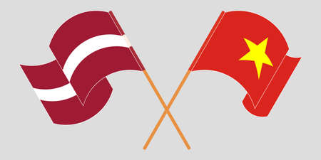 Crossed and waving flags of Latvia and Vietnam. Vector illustration  イラスト・ベクター素材
