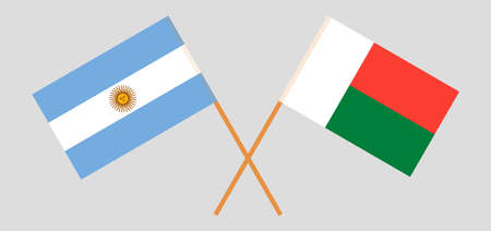 Crossed flags of Madagascar and Argentina. Official colors. Correct proportion. Vector illustration Çizim