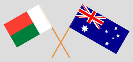Crossed flags of Madagascar and Australia. Official colors. Correct proportion. Vector illustration