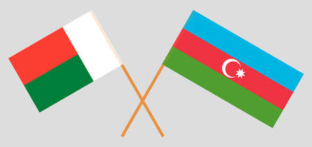 Crossed flags of Madagascar and Azerbaijan. Official colors. Correct proportion. Vector illustration Çizim