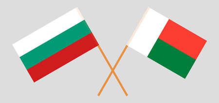 Crossed flags of Madagascar and Bulgaria. Official colors. Correct proportion. Vector illustration